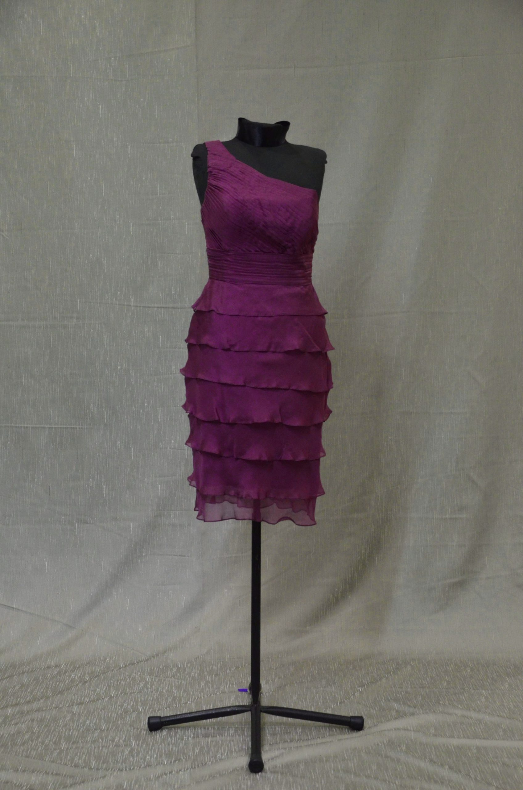 1 shoulder cocktail dress, size 10, dark magenta