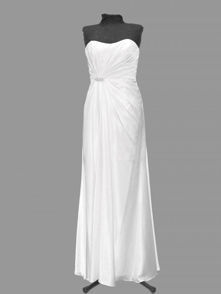 Crux White Satin Debutante Gown, Size 10, white, CB232