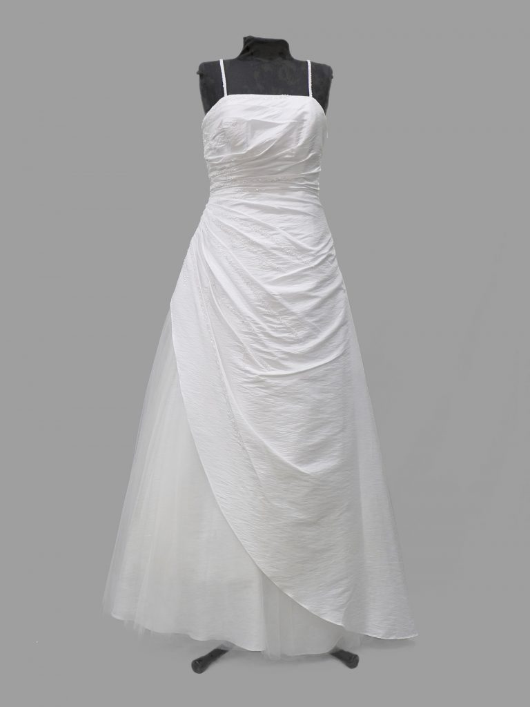 Dzage White taffeta, princess line gown, small size 12, DAD004