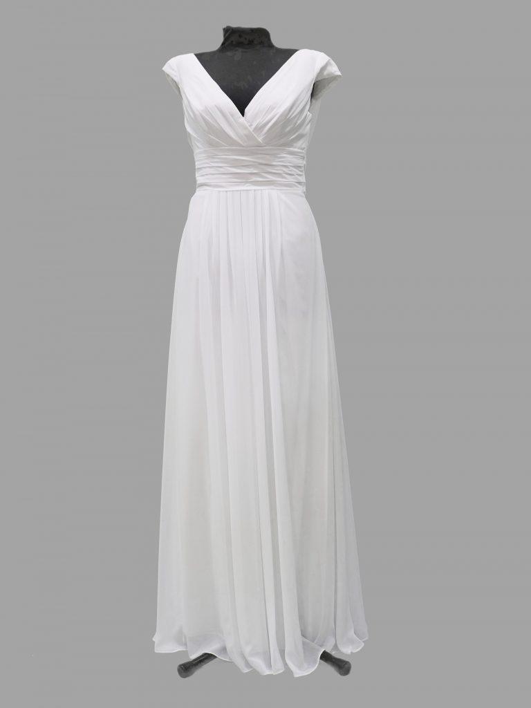 Simple wedding/debutante dress, white chiffon, Crux CB233, small size12