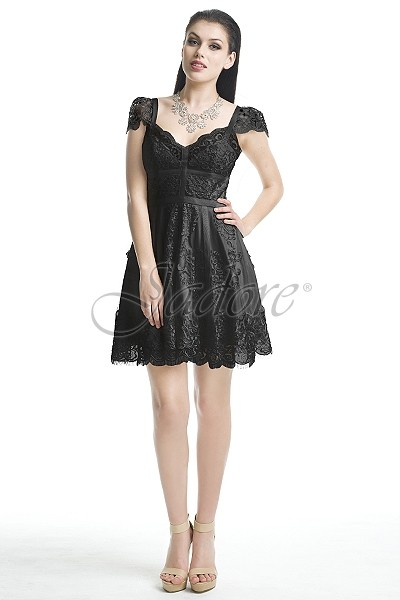 Lace cocktail gown with cap sleeve, Jadore, J5007, Black, Mango, Fuchsia