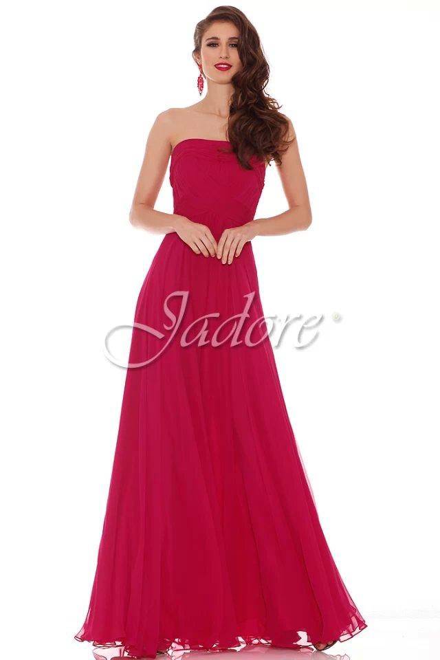 Strapless Chiffon Gown, Jadore, J6037, Raspberry